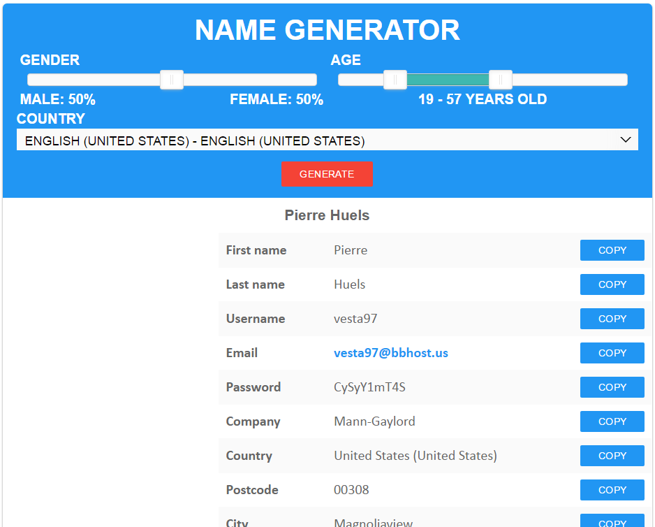Registration Data - Generator Name Random Fake